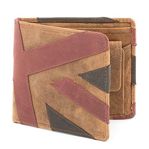 Braun Union Jack (Union Jack Braun Herren Leder Brieftasche von Mustard)