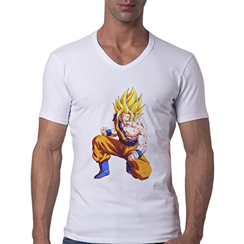 Dragon Ball Z Son Goku Yellow Hair Herren V-Neck T-Shirt Weiß