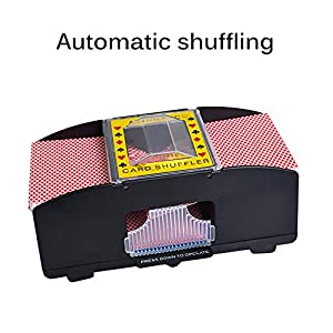 ONEVER Card Shuffler, Automatic Poker Card Shuffler Battery Powered Perfect Casino Game Table Accessory for All Ages - 2 Free Casino Decks