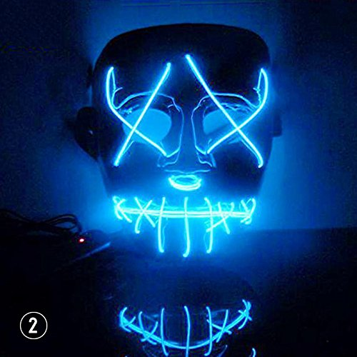 calistous EL Draht DJ Party Festival Halloween-Kostüm EL Light Up LED Maske dunkelblau