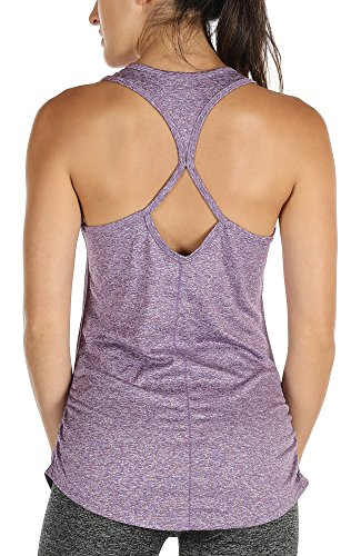 icyzone Damen Yoga Sport Top Lang - Fitness Gym Laufen Shirt Running Tanktop Vest (M, Lavender)