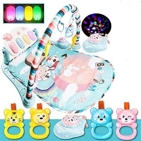 krabbeldecke mit spielbogen ,Frashing Multifunktionale Treten und die Klavier spielen Gym Klavier Bodybuilding Gym mit Blinklichter für Kinder Baby Kind Intelligenz pädagogisches Spielzeug (Grün)