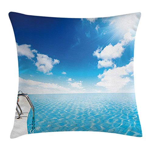 Summer Throw Pillow Cushion Cover, Swimming Pool in Crystal Color Water Cloudy Sky Relaxing Holiday Image, Decorative Square Accent Pillow Case, 18 X 18 inches, Blue White Turquoise