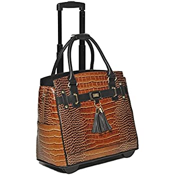 Damen-Trolley / -Handtasche Brieftasche mit Rollen für iPad, Tablet oder Laptop, Alligator-Optik, Braun und Schwarz Laptoptrolley
