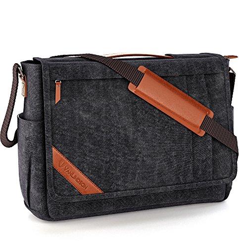 Große Umhängetasche für Herren + Laptop Tasche 15.6 Zoll [2018 DESIGN] Messenger Bag Kuriertasche, Schultertasche von höchster Qualität [GERMAN BRAND] für Arbeit, Uni, Reise, Sport (schwarzgrau)