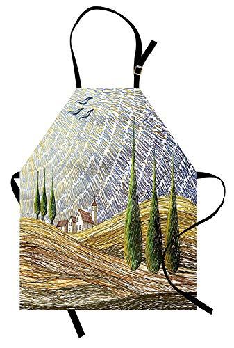 (Italienische Schürze, Van Gogh Style Italian Valley Ländliche Felder mit europäischem Landschaftsmalerei-Druck, Unisex-Küchenschürze mit verstellbarem Hals zum Kochen Backen Gartenarbeit, Multicolor)