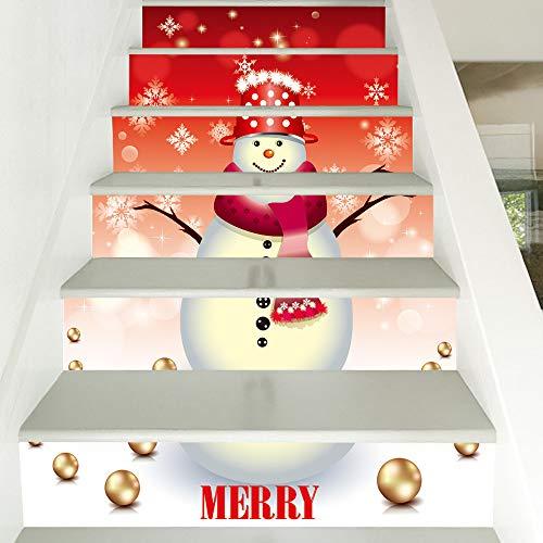 (Mitlfuny Weihnachten DIY Home Decor 2019,Weihnachten 3D Simulation Treppe Aufkleber Wasserdichte Wandaufkleber DIY Home Decor)