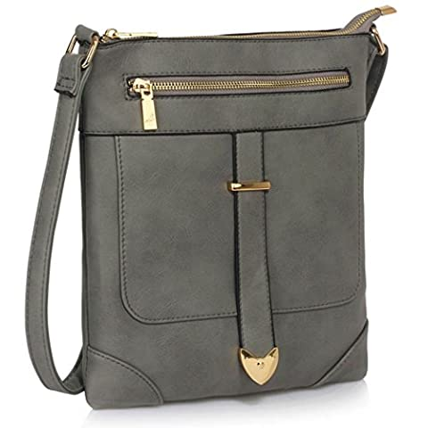 LeahWard Women's Cross Body Bags Nice Faux Leather Shoulder Bag Across Body Handbags For Women Holiday CW481 (Grey Buckle Detail Crossbody Bag)