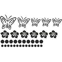 Autoaufkleber Schmetterlinge Hibiskus Punkte 35er