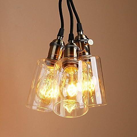 Pathson Industrial Vintage Victorian Modern Rustic Loft Coffee Bar Kitchen Glass Shade 3 Lights Switch Hanging Ceiling Pendant Light Edison Lamp Fixture E27 (Bronze)