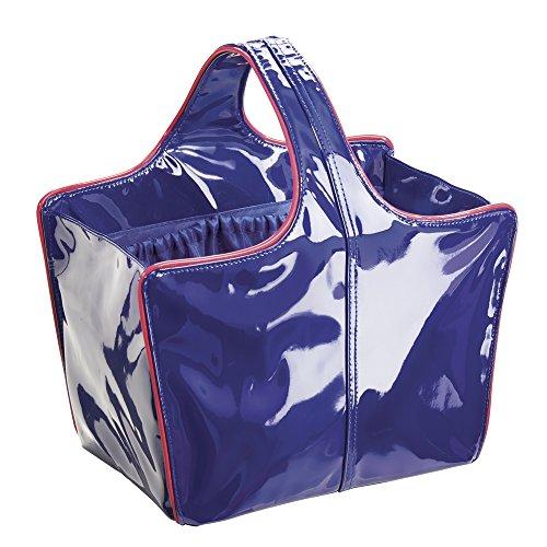 Remy InterDesign Custodia a borsa per bagno e doccia, College Dorm, spiaggia, in pelle, colore: corallo/blu Navy, taglia M, 3 pezzi