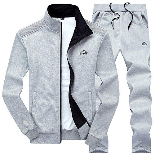donhobo Herren Jogginganzug Trainingsanzug Sportanzug Fußball Sporthose Hoodie Hose für Gym Warm Fleece Tracksuit(Hellgrau,M)