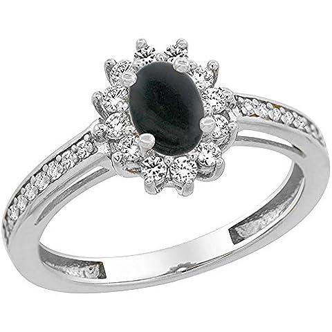 Revoni-Bracciale in oro bianco, 14 carati, con pietra in onice nera, Halo Anello ovale, 6 x 4 mm, dettagli in brillantini