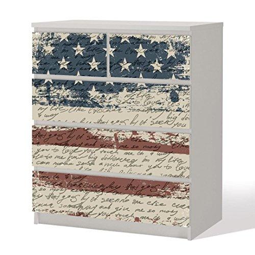 Möbelfolie -- Shabby Chic USA -- Dekorfolie für Schränke & Tische -- Flagge Amerika Klebefolie Aufkleber (Amerika Schrank)