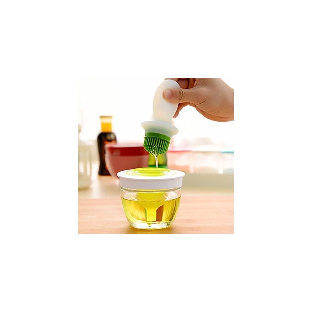 Eleoption L Flasche Glas Lflasche Mit Hitzebestndige Silikon Brste Backpinsel Fr Speisel Olivenl Butter Sauce Essig Usw