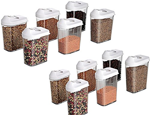 DeoDap Cereal Dispenser Easy Flow Storage Jar 750ml 12 Pcs Set, Idle For Kitchen- Storage Box Lid Food Rice Pasta Pulses Container