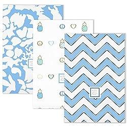 SwaddleDesigns Baby Burpies, Pink Fun, Set of 3 Burp Cloths (Blue)