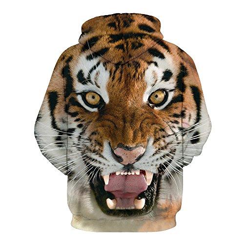 laamei 1pc Casual Sweats à Capuche Pull à Manches Longues Imprimé 3D Unisexe Sweat-shirts Hiver Fantaisie Hoodie avec Pochette Tigre