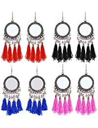 493cd8a6e YouBella Stylish Party Wear Jewellery Silver Plated Drop Earrings for Women  (Multi-Colour)