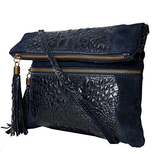 Pochette da giorno , Borse a spalla (24,5 / 21 (28) / 2) pelle & Croco-look, Mod. 2080 Blu/Croco