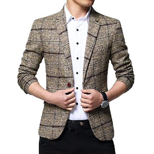 CuteRose Mens Casual Loose Fit Dress Business Big & Tall Plaid Coat Jacket Khaki 2XL -