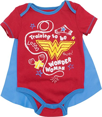 DC Comics Wonder Woman Neugeborenes Baby Mädchen Kostüm Kurzarm Body mit Cape, Rot 3-6 (Baby Superheld Kostüm)