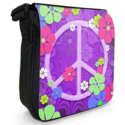 Motivo: fiori in stile Hippy con simbolo della pace in tela con tracolla, colore: nero, taglia: S Purple Flower Power Peace Sign