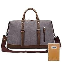 KAUKKO Mens Canvas Holdall Travel Duffle Overnight Weekend Satchel Totes Bag Handbags