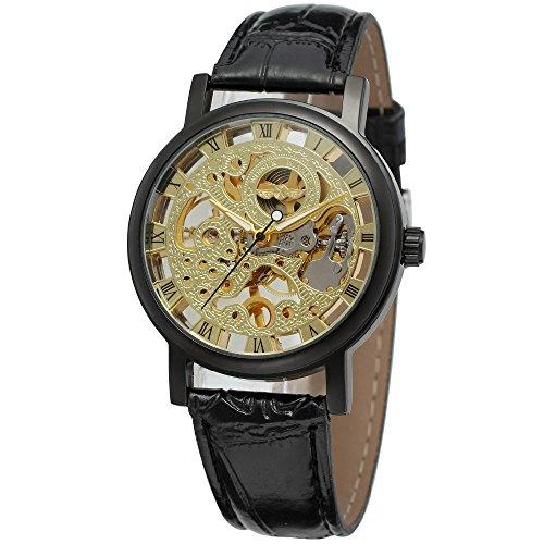 Gute Steampunk Unisexe main manivelle mécanique avec cadran doré, affichage analogique et bracelet en cuir