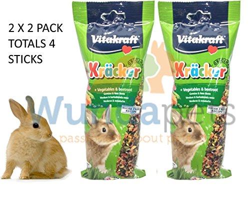 Vitakraft Kaninchen Stick zum Aufhängen Karotten & Rote Beete Käfig Stall behandeln 2X 2PK (Kaninchen-gemüse-sticks)