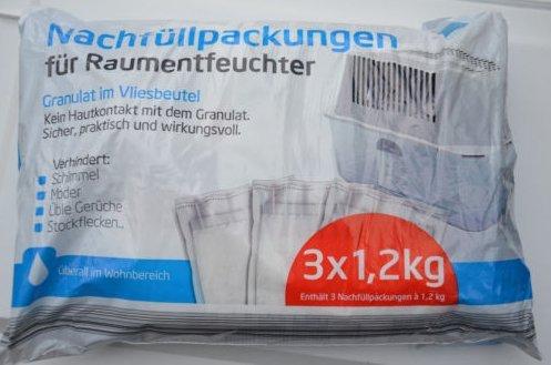 3 x 1,2kg Nachfüllpackung für Raumentfeuchter Granulat im Vliesbeutel