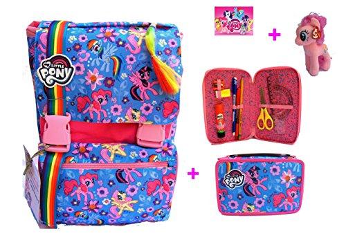 Zaino my little pony new 2017 - zaino sdoppiabile big seven - 28 lt - schoolpack + astuccio 3 scomparti + gadget mini pony incluso