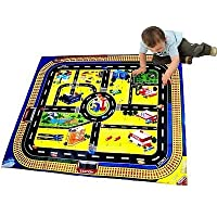 Children Giant City Playmat Floor Play Mat for Toy Cars Road Railway Track Train