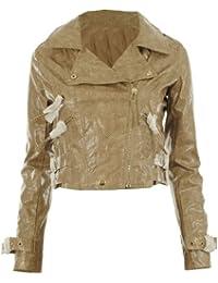 6233 New Womens Shiny Wet Look Faux Snake Skin Cropped Zip Biker Ladies Jacket
