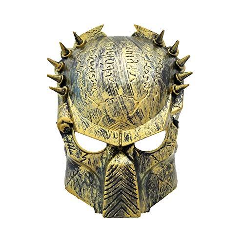Jagged maschera del guerriero, adulti accoglienti halloween maschera orrore di ruolo & trucco del partito adatto a masquerade / partito / bar (oro)