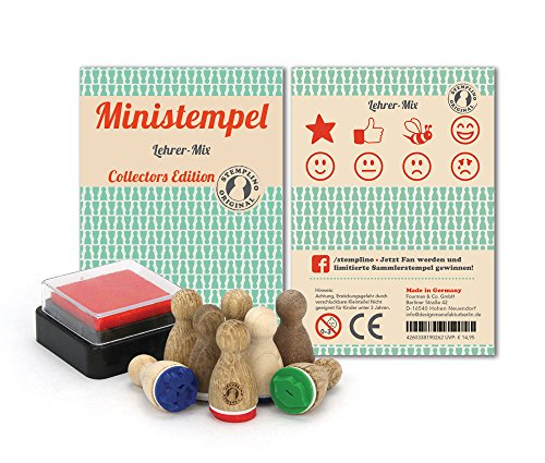 (Stemplino 4260338190262 -Mini Stempel Lehrer-Mix, 8 Stempel mit Stempelkissen)