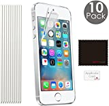 [Pack of 10] TECHGEAR® Apple iPhone SE, iPhone 5s 5c 5 ULTRA CLEAR Screen Protector Guard Cover With Screen Cleaning Cloth & Application Card (ECO PACK)