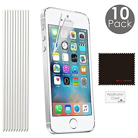 [Pack de 10] TECHGEAR® Apple iPhone SE, iPhone 5s 5c 5 Film de Protection Ultra Clair pour Écran LCD avec Chiffon de Nettoyage & Carte d'Application (ECO