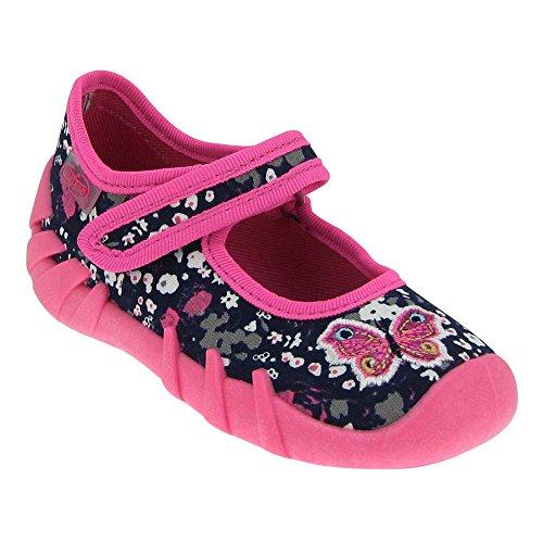 GALLUX - Mädchenschuhe Hausschuhe Babyschuhe Klett Ballerinas Pink/Dunkelblau