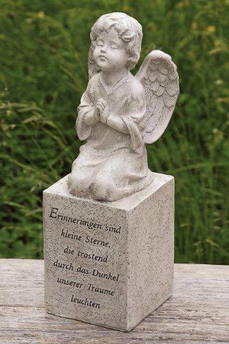floristikvergleich.de Betender Trauerengel Grabschmuck grau-antik wetterfest Höhe 25 cm