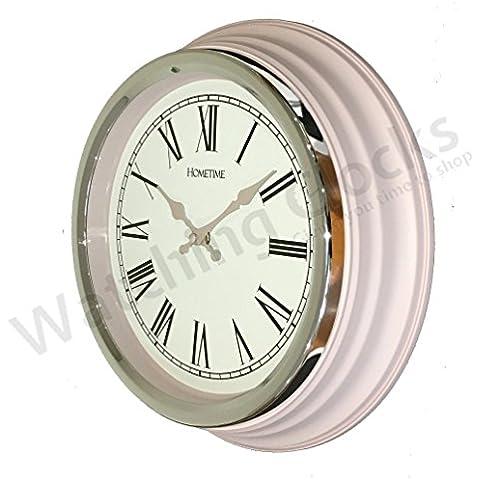 Reloj de Pared Tradicional Hometime Color Rosado Pastel con Bisel Cromado
