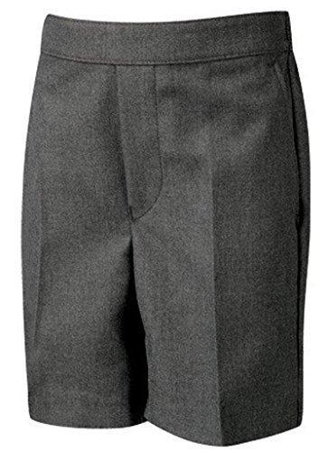 (School Uniform Kinder Halb-elastischer Flat Front Schoolgear Pull-Up Short - Grau - Grau, 25 Waist x Regular)