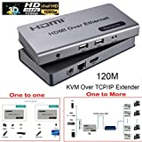 #7: Microware 120m HDMI KVM over Ethernet Extender Single Cat6/7 Cable Transmitter + Receiver with USB Ports for Keyboard Mouse to control the Signal for PC DVD Sky HD Box PS3 PS4 Satellite Box and other Equipment
