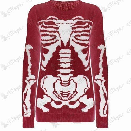Damen Halloween Skelett Knochen Bedruckt Enganliegend Tunika Kleid Top 8 10 12 14 - Rot - Promi Jessie J Unheimlich Party Damen Unisex, M EU 38 -