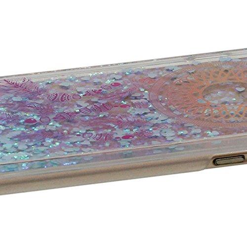 iPhone 6S Plus Coque Dur, Flowable Transparent Liquide / Coeurs Conception Plumage Style Motif Clair Housse de protection Case pour Apple iPhone 6 Plus / 6S Plus 5.5 inch Anti choc avec 1 stylet Color-d