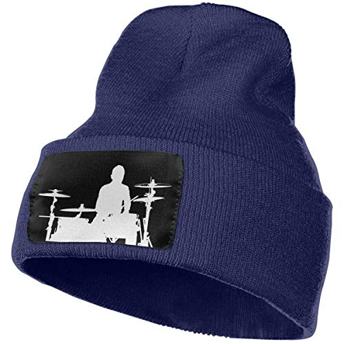 AWEER Strickmützen Hüte Mützen & Caps Drummer and Drums Unisex Knit Hat Soft Warm Winter Skull Cap Lined Cuff Beanie Black
