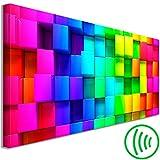 decomonkey | Akustikbild Quadrat 135x45 cm | 1 Teilig | Leinwand | Wandbilder XXL | Schallschlucker | Schallschutz | Akustikdämmung | Wand Bild | Leise | Abstrakt Bunt