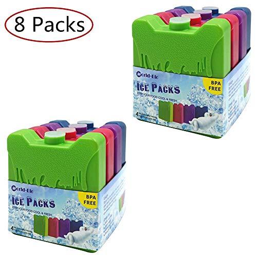 WORLD-BIO 8 Kühlakkus Kühlelemente für Brotdose Kühltasche Klein Kühlakkus Lang anhaltende Erkältung für Schule, Picknick, Camping, Angeln usw