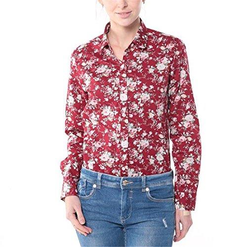 Dioufond® Damen Blumen Floral Printing Bluse Elegant Langarm Casual Dünne Bluse Tops Damen-Tunika Weinfloral