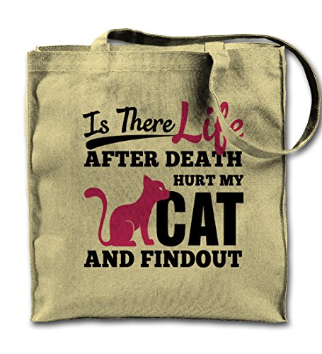 Is There Life After Death Touch My Cat And Find out Funny Pet Natural Canvas Tote Bag, Cloth Shopping Shoulder Bag -